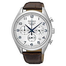 Buy Seiko SSB229P1 Men's Chronograph Date Leather Strap Watch, Brown/Silver Online at johnlewis.com