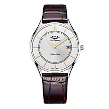 Buy Rotary GS90800/02 Men's Les Originales Ultra Slim Date Leather Strap Watch, Brown/Silver Online at johnlewis.com