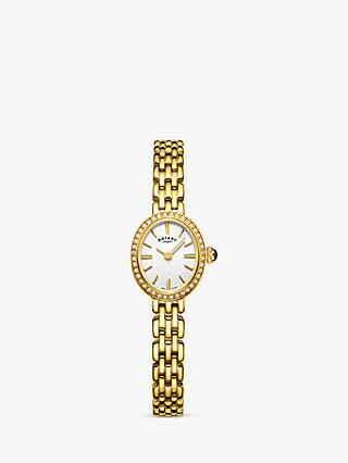 Buy Rotary LB05051/02 Women's Cocktail Bracelet Strap Watch, Gold/White Online at johnlewis.com