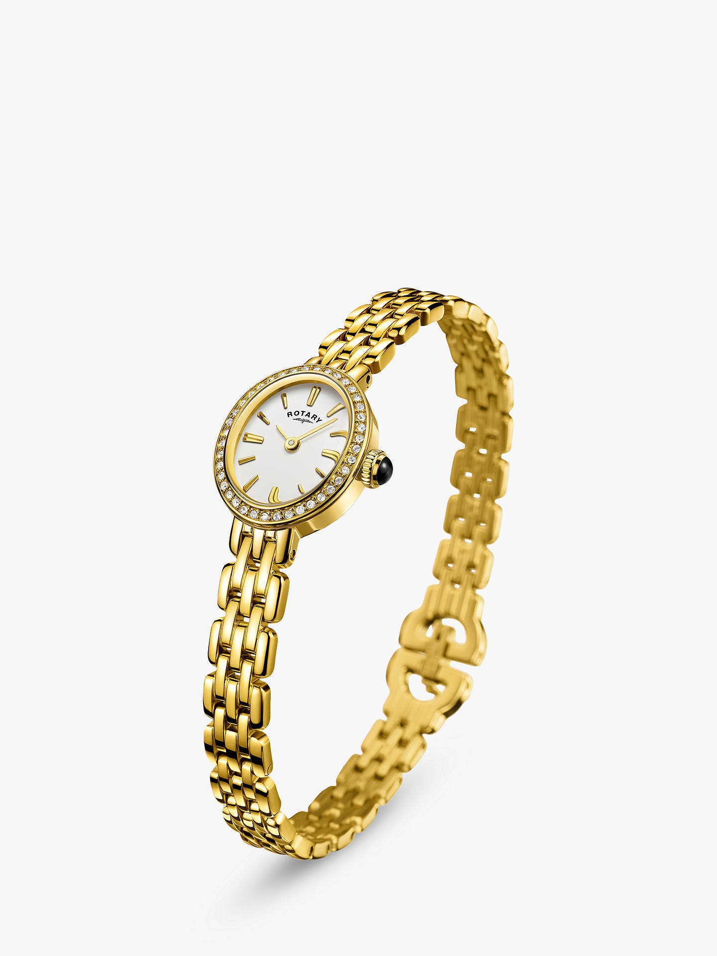 BuyRotary LB05051/02 Women's Cocktail Bracelet Strap Watch, Gold/White Online at johnlewis.com