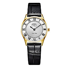 Buy Rotary LS90803/01 Women's Les Originales Ultra Slim Leather Strap Watch, Black/White Online at johnlewis.com
