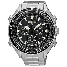 Buy Seiko SSG001P1 Men's Prospex Chronograph Radio Synchronised Solar Bracelet Strap Watch, Silver/Black Online at johnlewis.com