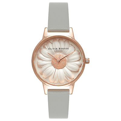 Olivia Burton OB15EG50 Women's Flower Show 3D Daisy Leather Strap Watch, Grey/Rose Gold
