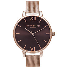 Buy Olivia Burton OB16BD86 Women's Brown Dial Bracelet Mesh Strap Watch, Rose Gold/Brown Online at johnlewis.com
