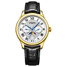 Buy Rotary GS05066/01 Men's Moonphase Date Day Leather Strap Watch, Black/Silver Online at johnlewis.com