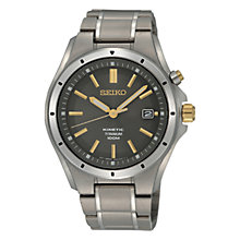 Buy Seiko SKA495P1 Men's Kinetic Date Bracelet Strap Watch, Matte Silver/Grey Online at johnlewis.com