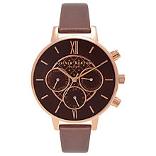 Buy Olivia Burton OB16CG84 Big Dial Chrono Detail Chronograph Leather Strap Watch, Brown/Gold Online at johnlewis.com