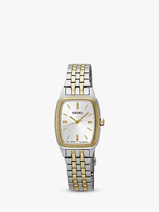 Seiko SRZ472P1 Women's Rectangular Dial Bracelet Strap Watch, Silver/Gold