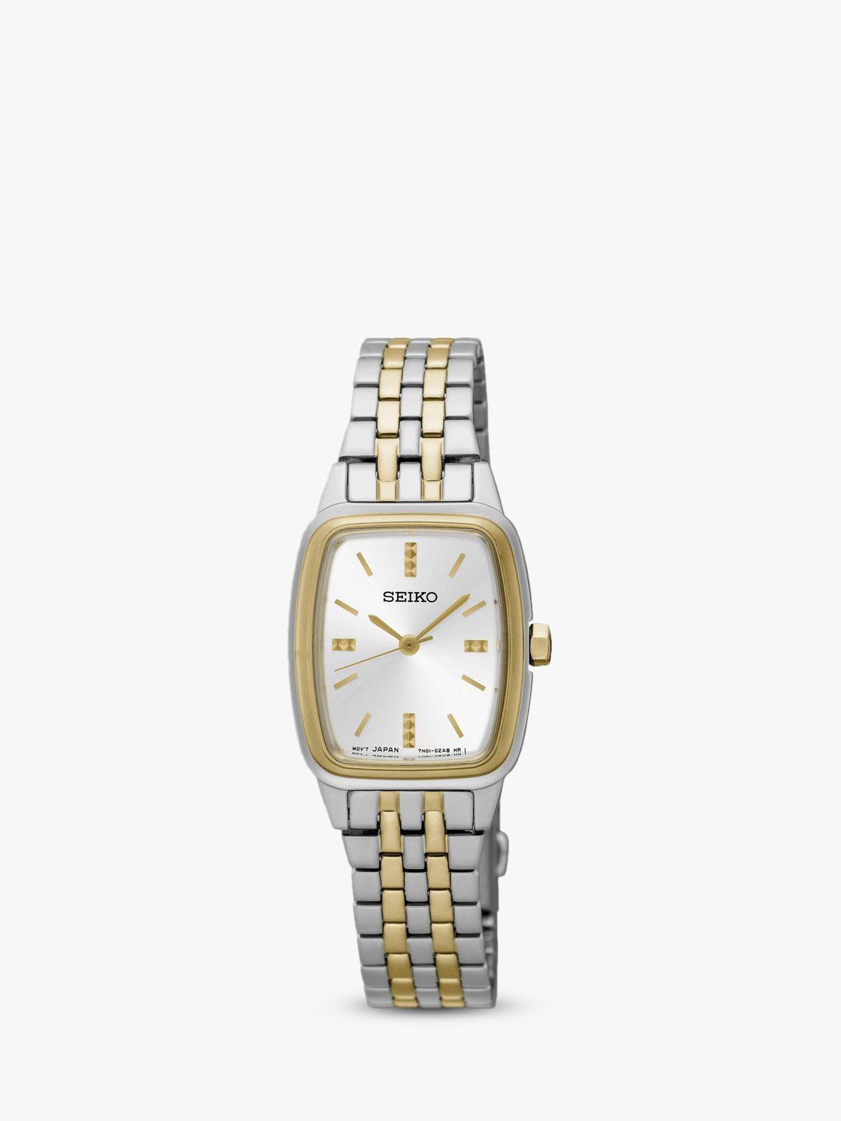 Seiko Seiko SRZ472P1 Women's Rectangular Dial Bracelet Strap Watch, Silver/Gold