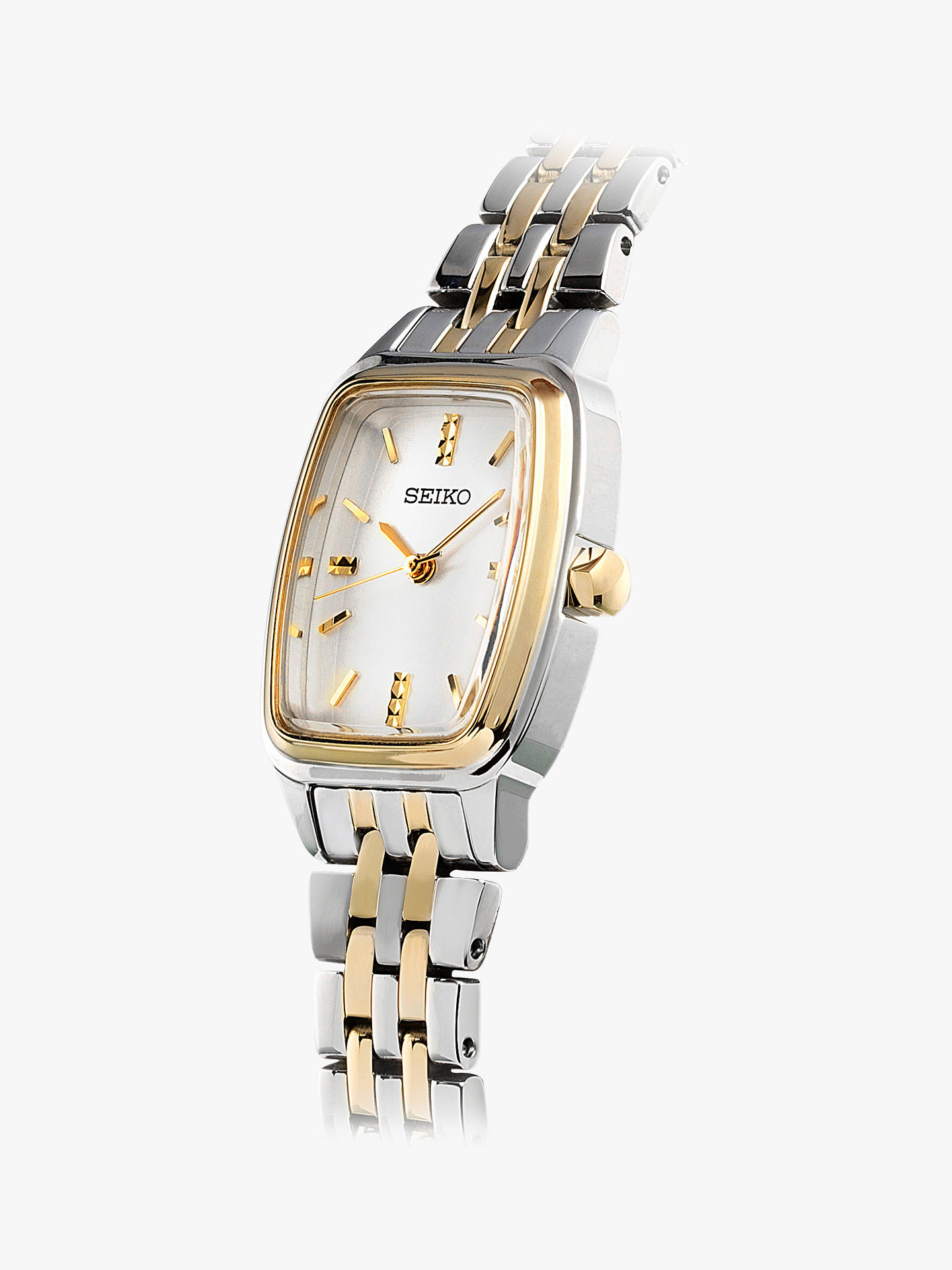 BuySeiko SRZ472P1 Women's Rectangular Dial Bracelet Strap Watch, Silver/Gold Online at johnlewis.com