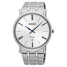 Buy Seiko SKP391P1 Men's Premier Date Bracelet Strap Watch, Silver/White Online at johnlewis.com