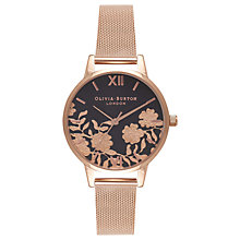 Buy Olivia Burton OB16MV57 Women's Lace Detail Bracelet Strap Watch, Rose Gold Online at johnlewis.com