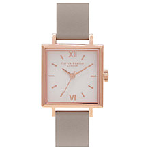 Buy Olivia Burton OB16SS03 Women's Square Detail Leather Strap Watch, Grey/White Online at johnlewis.com