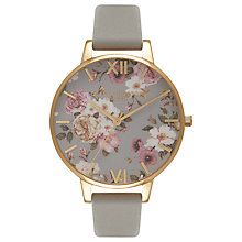 Buy Olivia Burton OB16FS81 Women's Flower Show Big Dial Leather Strap Watch, Grey/Gold Online at johnlewis.com