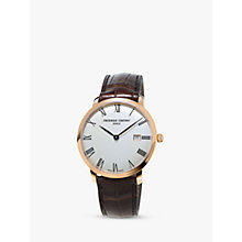 Buy Frédérique Constant FC-306MR4S4 Men's Slimline Automatic Date Leather Strap Watch, Brown/White Online at johnlewis.com