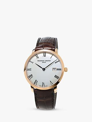 Frédérique Constant FC-306MR4S4 Men's Slimline Automatic Date Leather Strap Watch, Brown/White
