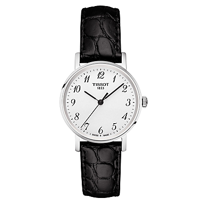 Tissot T1092101603200 Women's Everytime Leather Strap Watch, Black