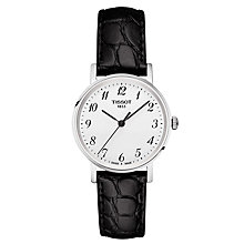 Buy Tissot T1092101603200 Women's Everytime Leather Strap, Black Online at johnlewis.com