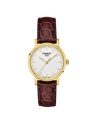 Tissot T1092103603100 Women's Everytime Leather Strap Watch, Brown/White