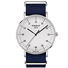 Buy Tissot T1096101703700 Men's Everytime Big Quartz Fabric Strap, Blue/White Online at johnlewis.com