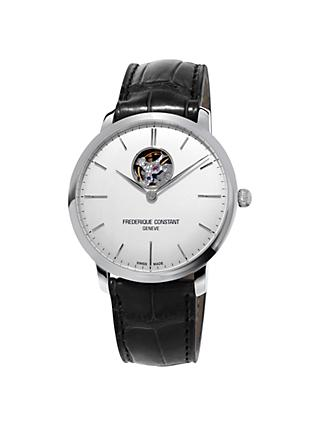 Frédérique Constant FC-312S4S6 Men's Slimline Skeleton Leather Strap Watch, Black/White