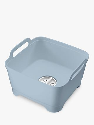 Joseph Joseph Wash & Drain Washing-Up Bowl, Blue/Grey