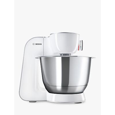 Bosch MUM58200GB CreationLine Kitchen Machine Food Mixer, Silver/White
