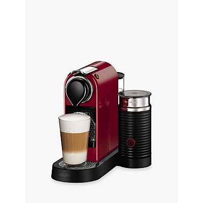 Nespresso CitiZ & Milk Coffee Machine by KRUPS with Milk Frother, Cherry Red