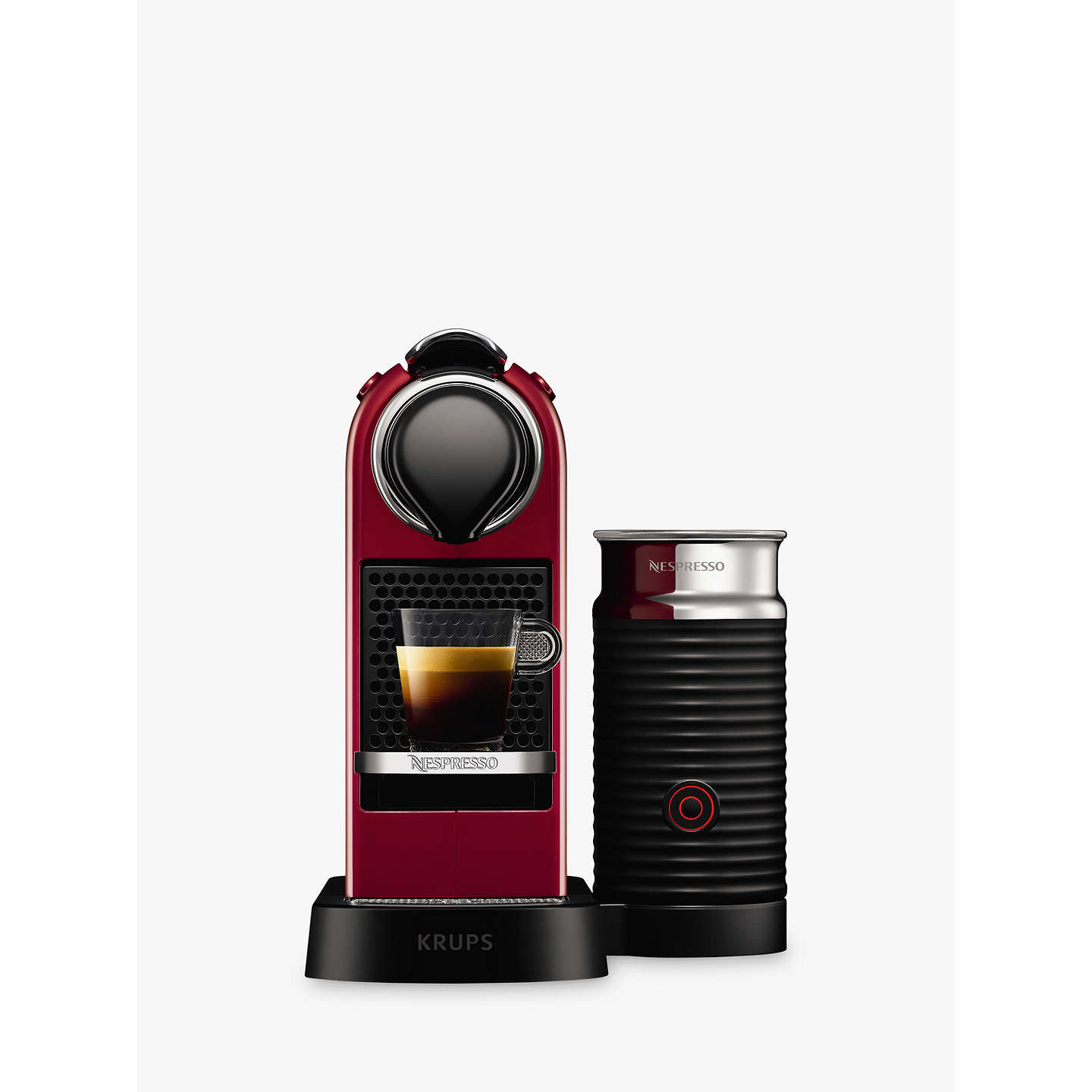 nespresso citiz milk coffee machine by krups with milk frother cherry red at john lewis. Black Bedroom Furniture Sets. Home Design Ideas