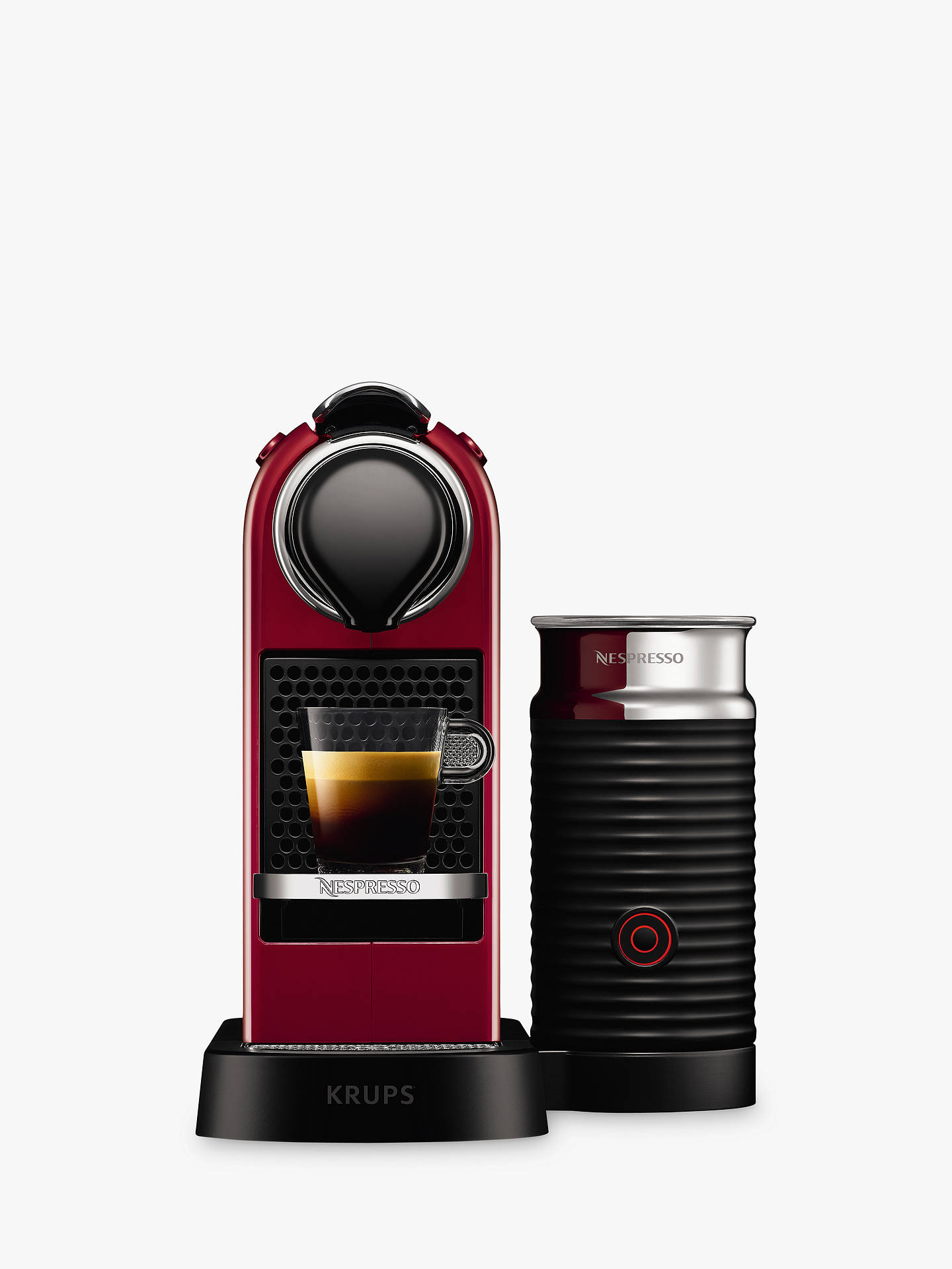 BuyNespresso CitiZ & Milk Coffee Machine by KRUPS with Milk Frother, Cherry Red Online at johnlewis.com