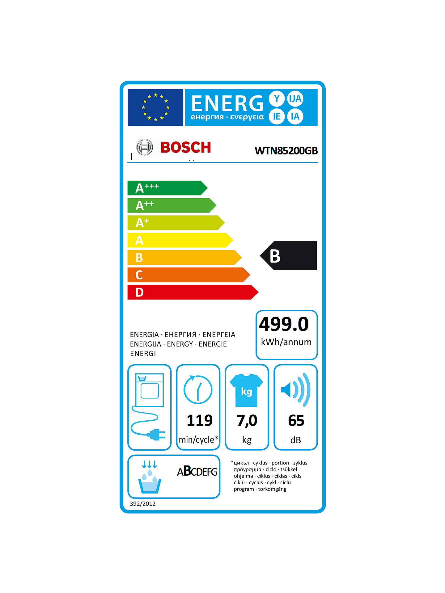BuyBosch WTN85200GB Condenser Tumble Dryer, 7kg Load, B Energy Rating, White Online at johnlewis.com