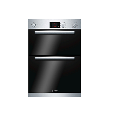 Image of Bosch HBM13B151B Built-In Double Electric Oven, Brushed Steel