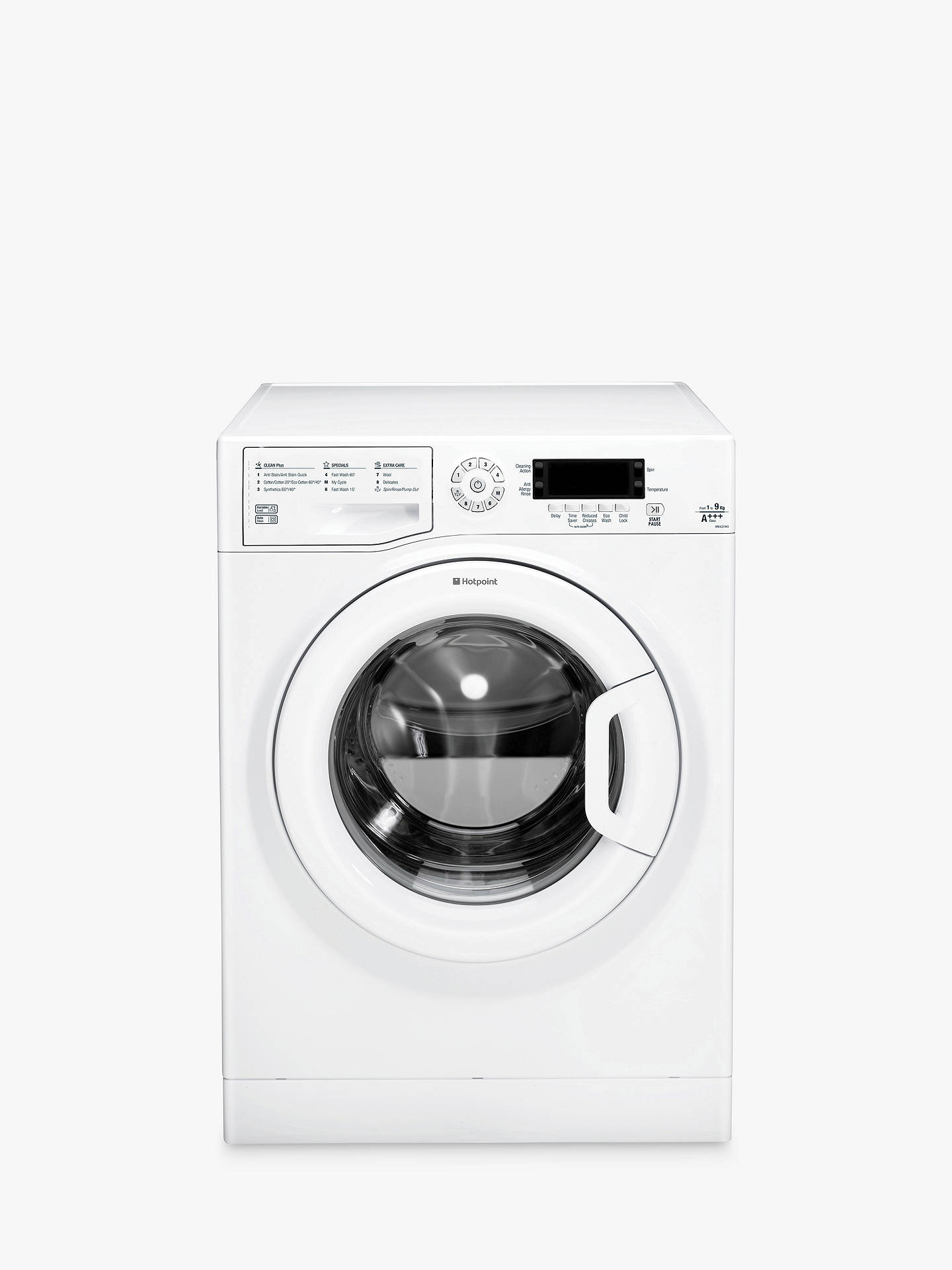 Buy Hotpoint WMJLD943P Freestanding Washing Machine, 9kg Load, A+++ Energy Rating, 1400rpm Spin, White Online at johnlewis.com