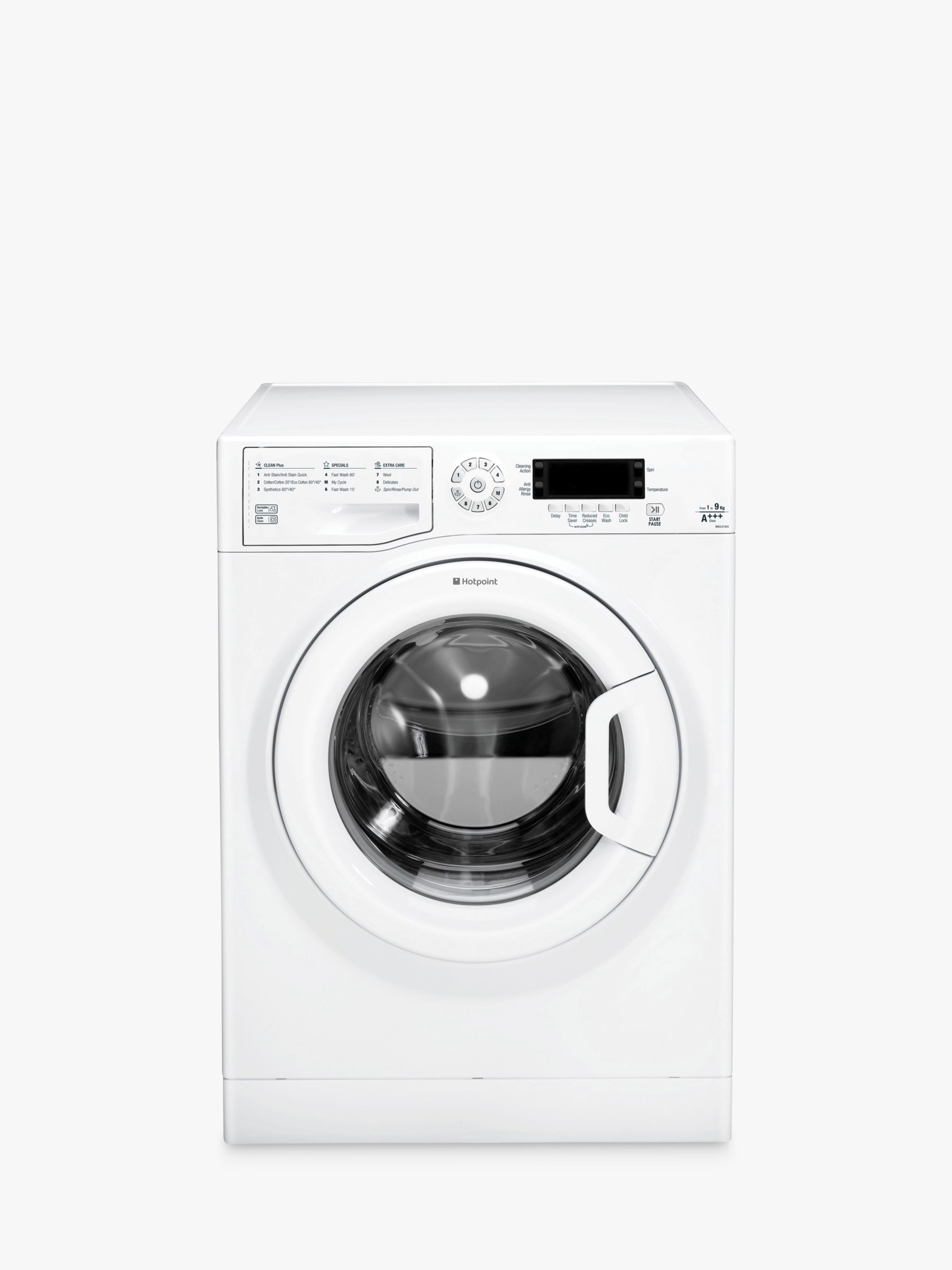 Hotpoint Hotpoint WMJLD943P Freestanding Washing Machine, 9kg Load, A+++ Energy Rating, 1400rpm Spin, White