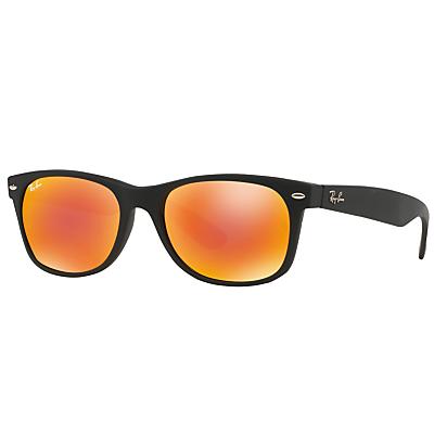 Ray-Ban RB2132 New Wayfarer Sunglasses, Black/Orange Mirror