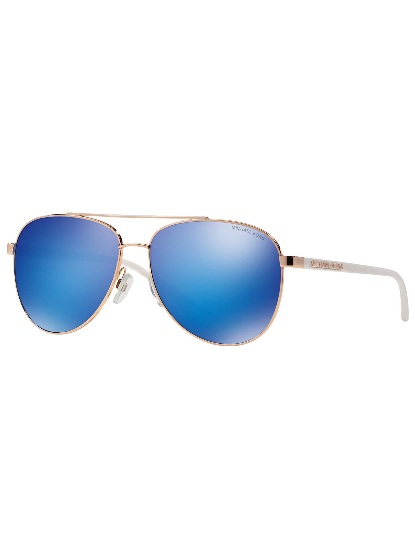 b81de7308ec4 Buy Michael Kors MK5007 Hvar I Aviator Sunglasses, Rose Gold/Blue Mirror  Online at ...