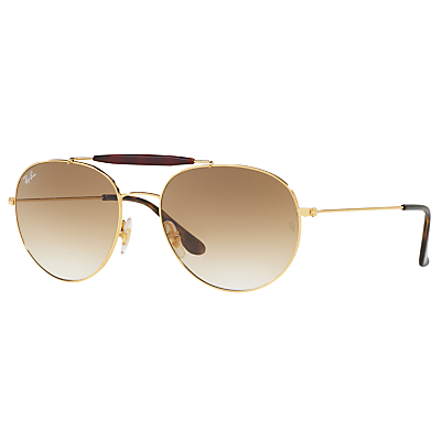 Ray-Ban RB3540 Oval Sunglasses, Gold/Beige Gradient