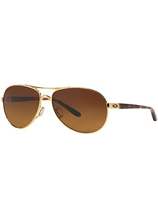 c2a55f9428 Oakley OO4079 Feedback™ Polarised Aviator Metal Frame Sunglasses