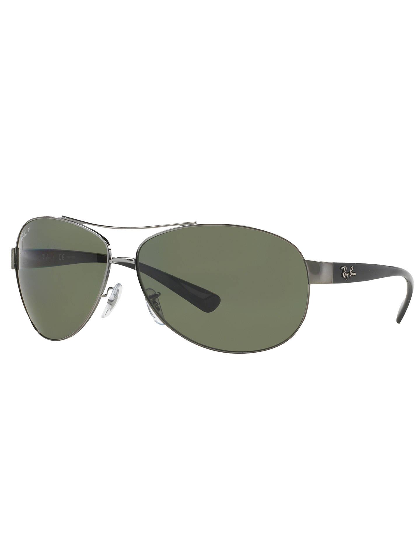 0b6acd79a6 Buy Ray-Ban RB3386 Polarised Oval Aviator Sunglasses, Gunmetal/Dark Green  Online at ...