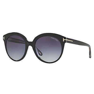 TOM FORD FT0429 Monica Round Sunglasses, Black/Grey Gradient