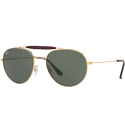 Ray-Ban RB3540 Oval Sunglasses, Gold/Green