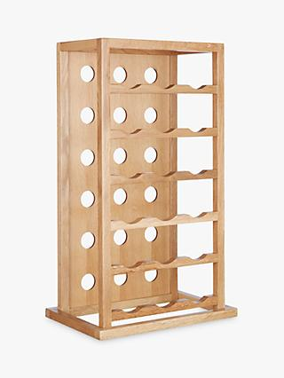 John Lewis & Partners Oak Wood Tower Wine Rack, 18 Bottle