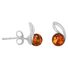 Buy Goldmajor Sterling Silver Amber Round Stud Earrings, Silver/Orange Online at johnlewis.com