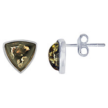 Buy Goldmajor Amber Triangular Stud Earrings, Silver/Green Online at johnlewis.com