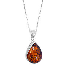 Buy Goldmajor Sterling Silver Amber Teardrop Wave Pendant Necklace, Silver/Orange Online at johnlewis.com