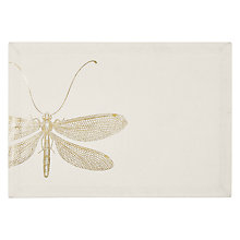 Buy John Lewis Gold Dragonfly Placemats, Set of 2, White/Gold Online at johnlewis.com