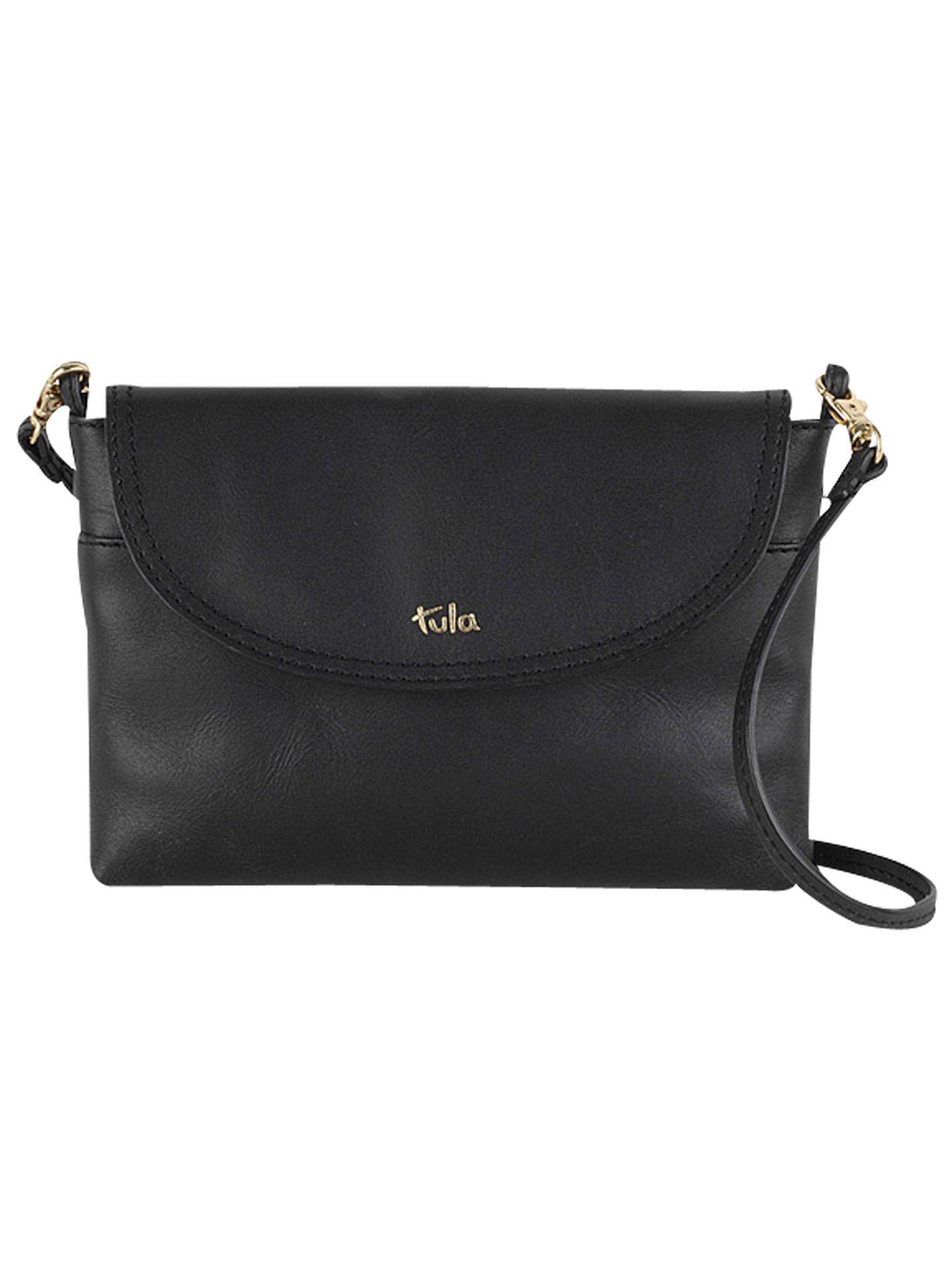 55b35c841b Buy Tula Party Small Leather Cross Body Flap Bag, Smooth Black Online at  johnlewis.