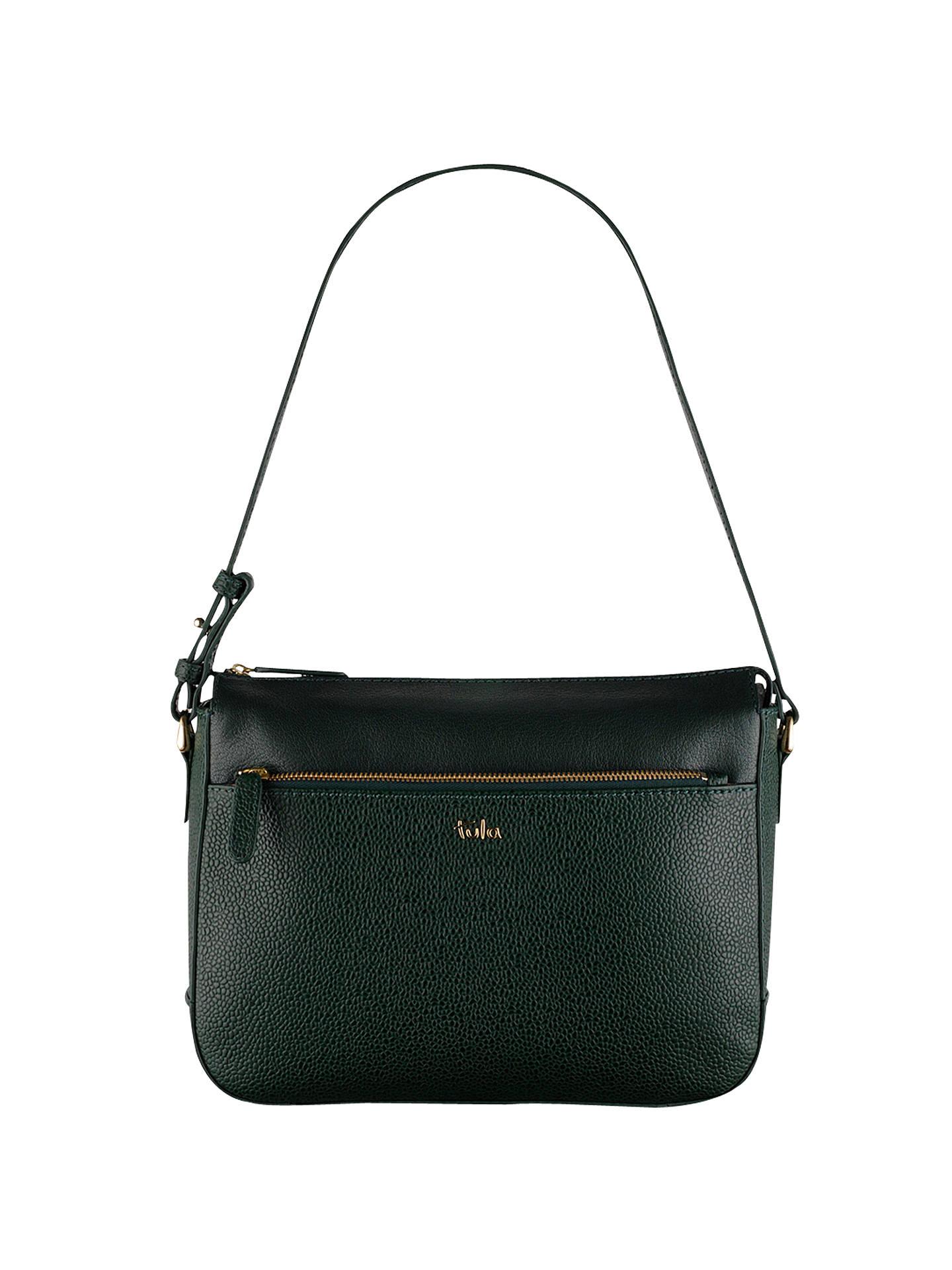BuyTula Rye Leather Shoulder Bag, Green Online at johnlewis.com ...