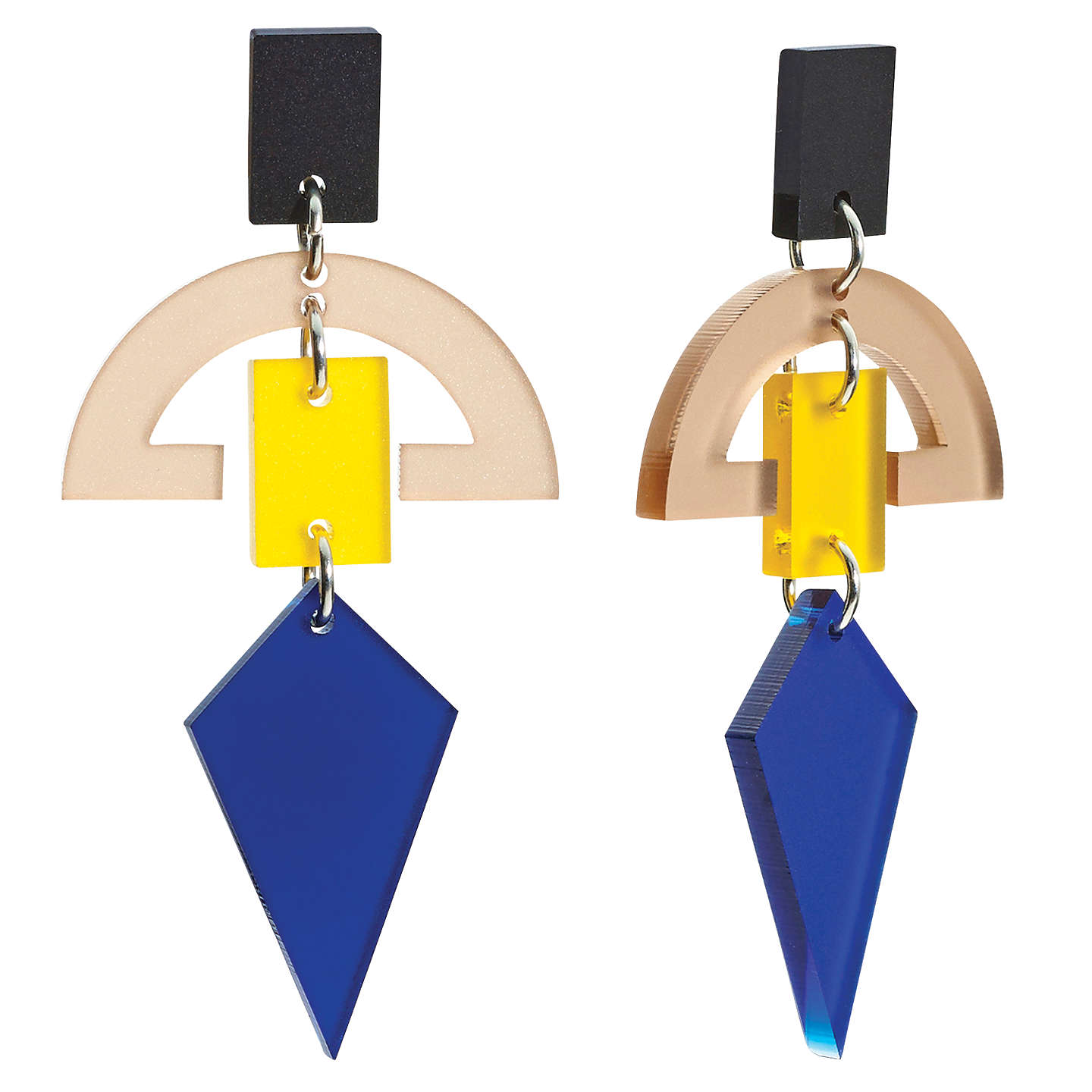 BuyToolally Half Moon Drop Earrings, Navy/Yellow Online at johnlewis.com