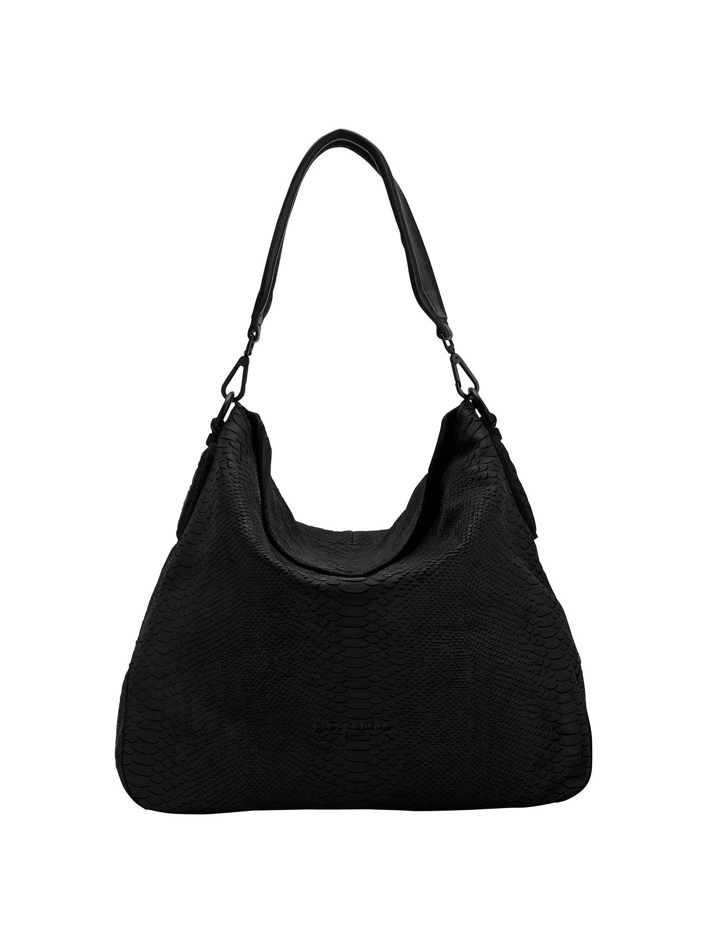 460f889da62 BuyLiebeskind Yokohama B Python Leather Hobo Bag, Ninja Black Online at  johnlewis.com ...